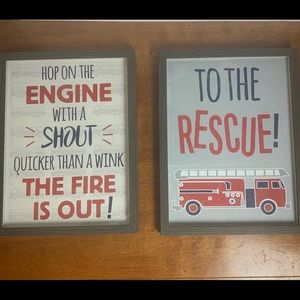 Fire truck print / pictures framed for kids room